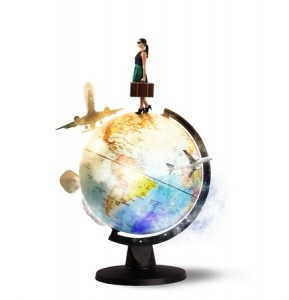 Woman traveler on globe